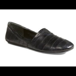 VINCE Bogart Eel Skin Flats in Black